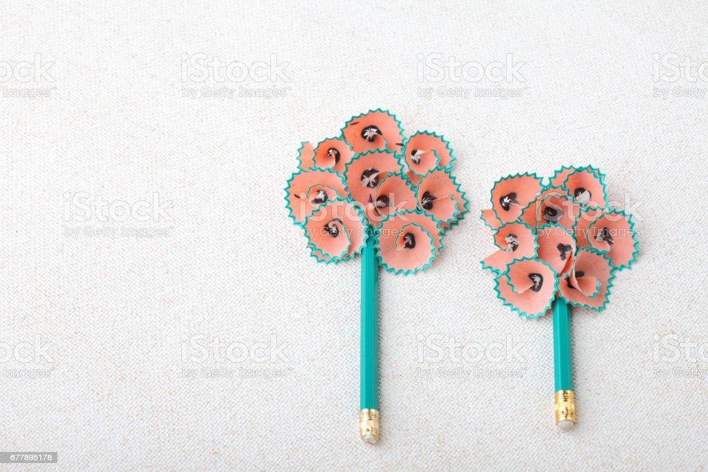 Shapes of tree made of pencil shavings royalty-free stock photo