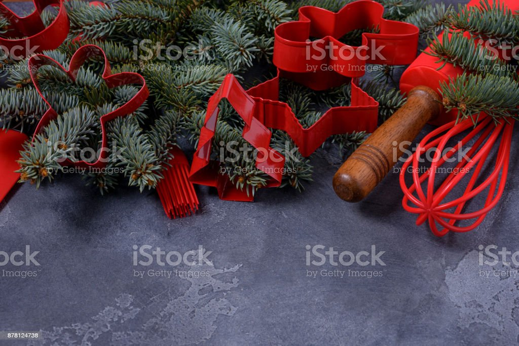 Shapes pastry cutters and fir tree stock photo