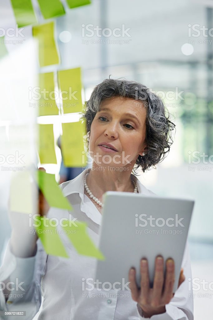 Shaping her ideas around success stock photo