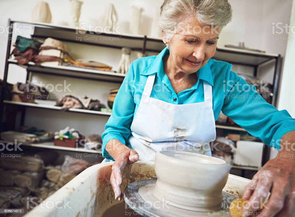 Shaping the retirement she loves stock photo