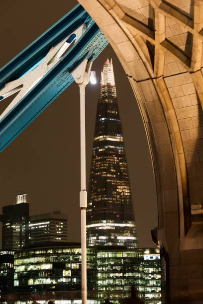Shard from Tower Bridge, London The shard at night seen from the arches of Tower Bridge in the foreground skeable stock pictures, royalty-free photos & images