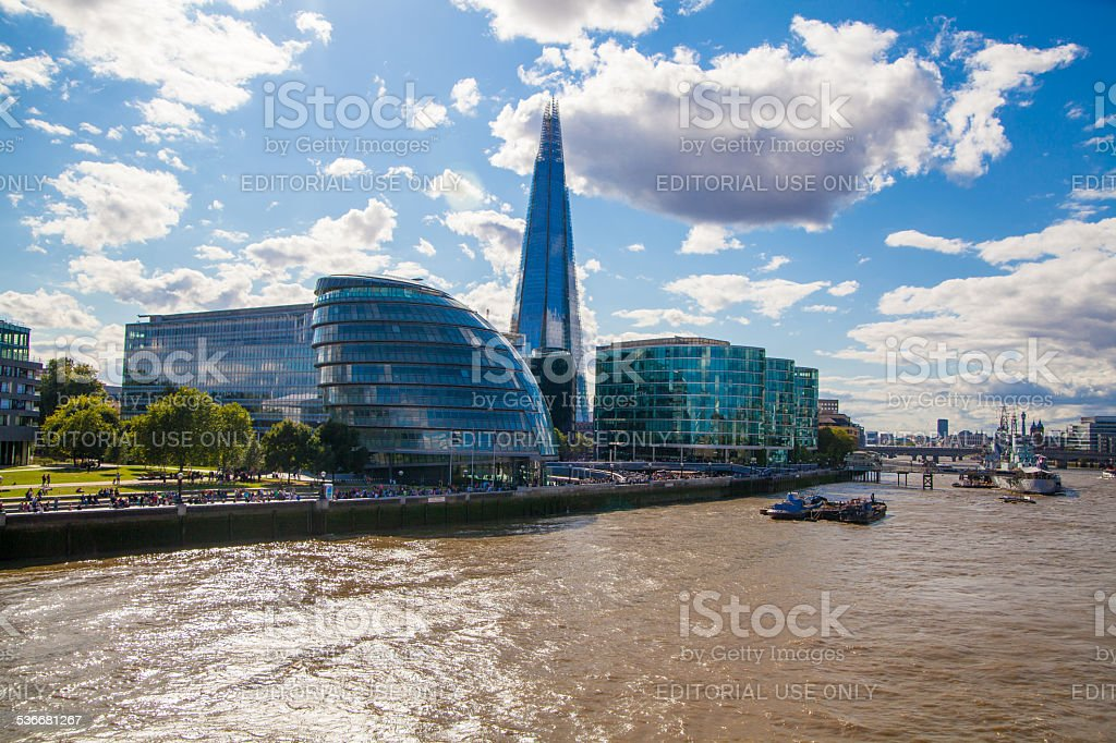 Shard of glass and river Thames. London stock photo