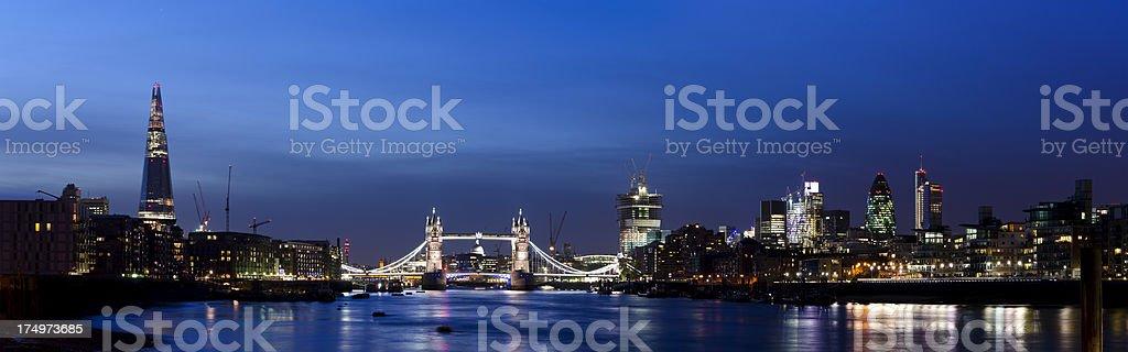 Shard, Tower Bridge and City skyscraper night skyline panorama stock photo