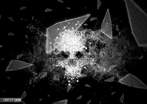 Shards flying from abstract skull
