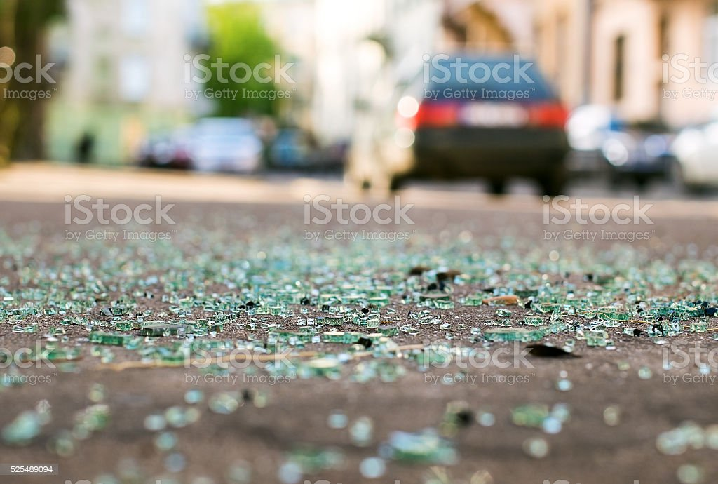Shards of car glass on the street royalty-free stock photo