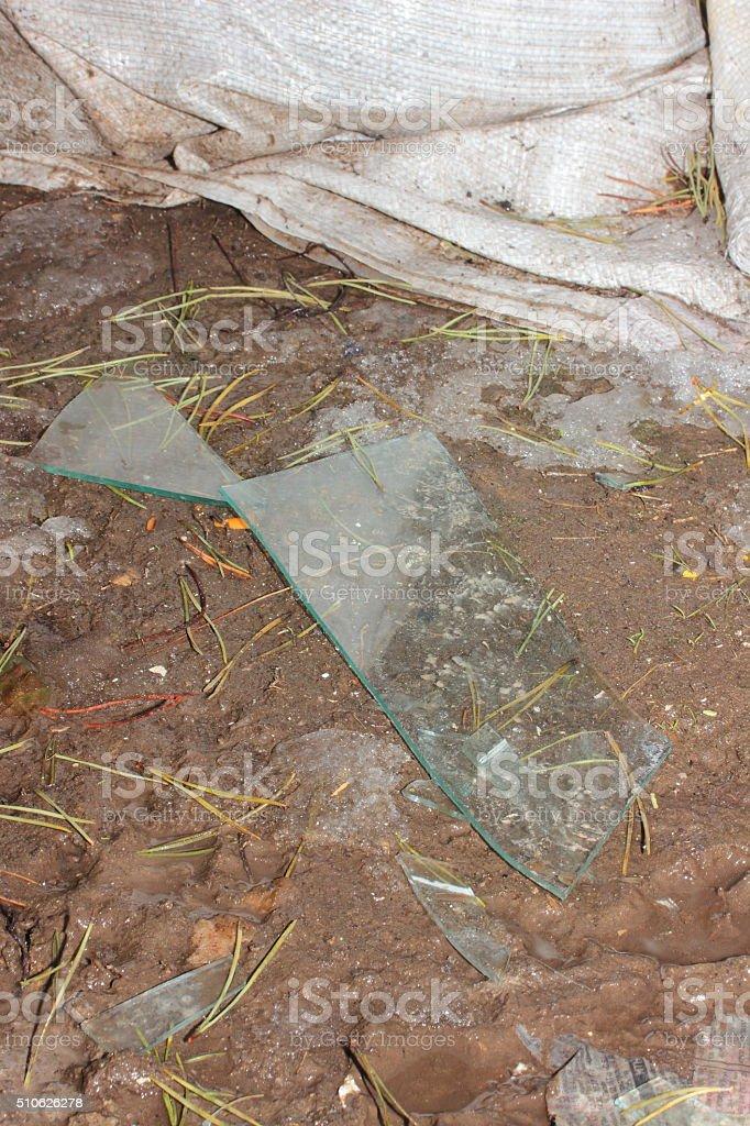shards of glass stock photo