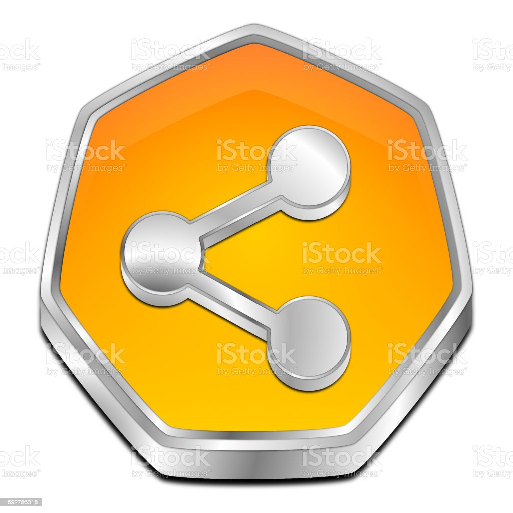 Share Button - 3D illustration stock photo
