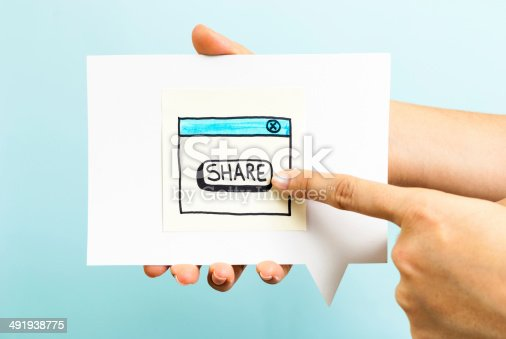 istock Share button concept on blue background 491938775