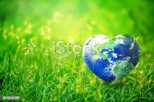 Earth in Heart shape on green grass on sunlight, Love and Save the World for the Next Generation concept, Earth day concept, Elements of this image furnished by NASA, http://earthobservatory.nasa.gov/IOTD/view.php?id=885
