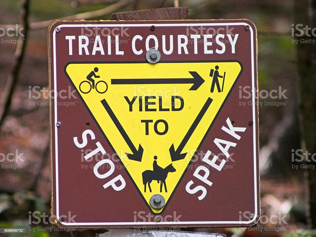 Share the Trail Sign for Hikers, Cyclists, and Horse Riders stock photo
