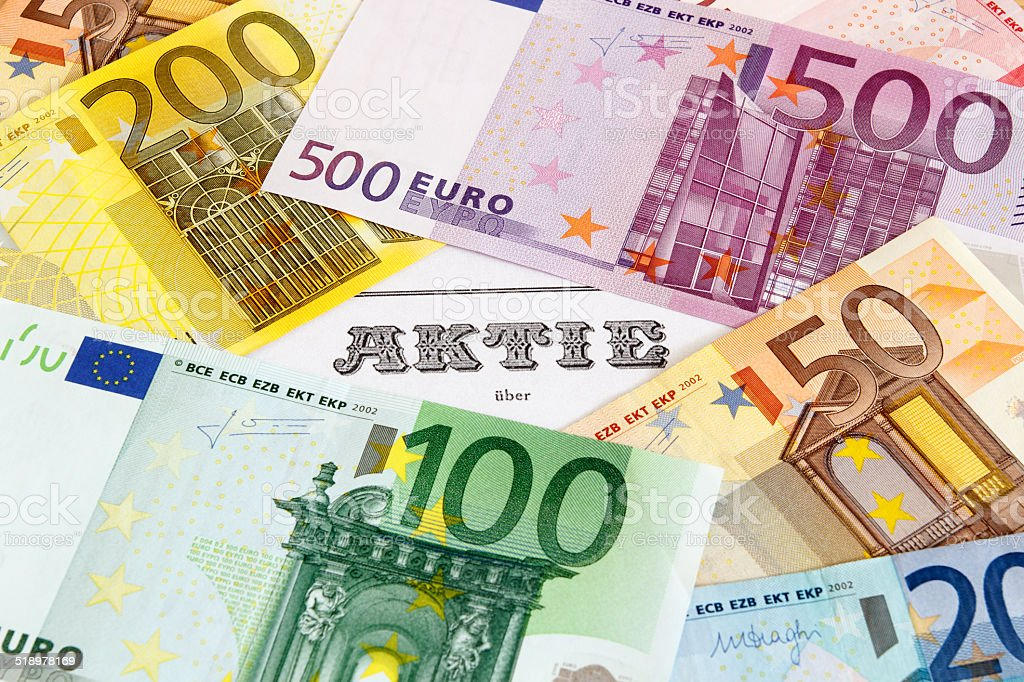 Share with Euro banknotes stock photo