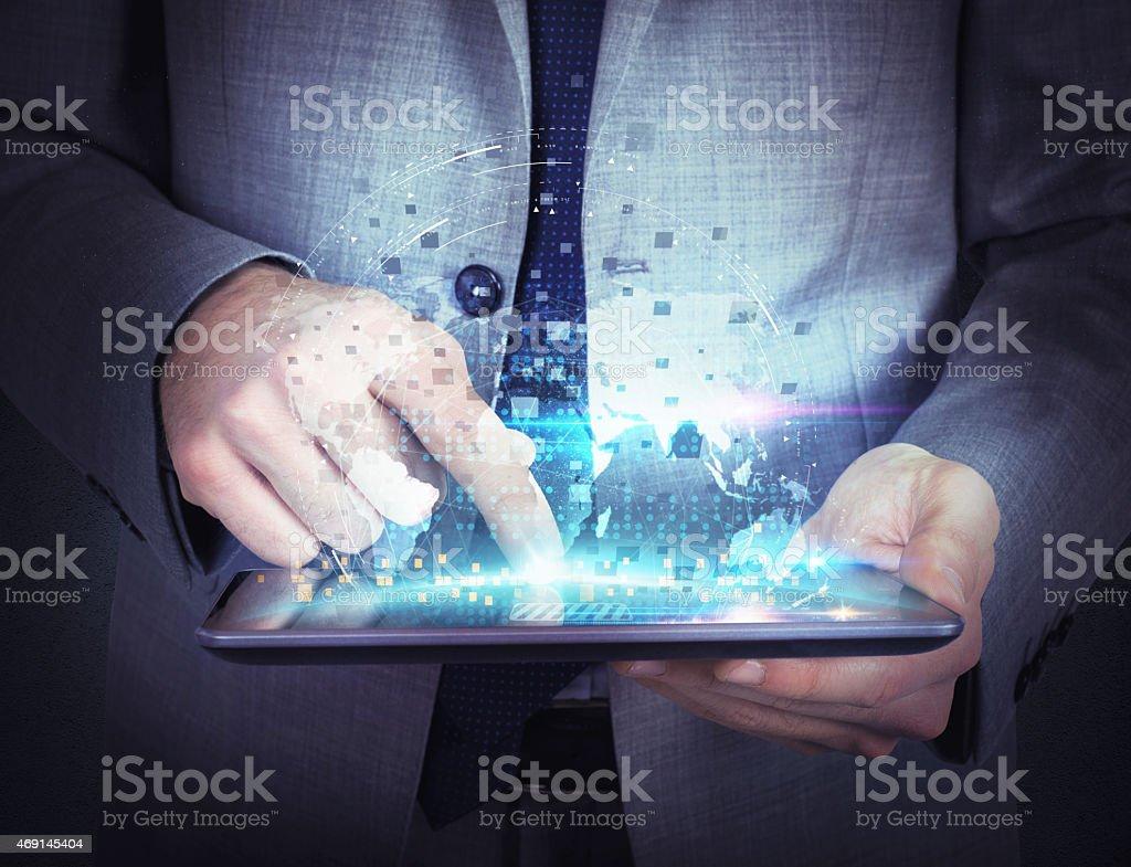 Condividi il lavoro con tablet foto stock royalty-free