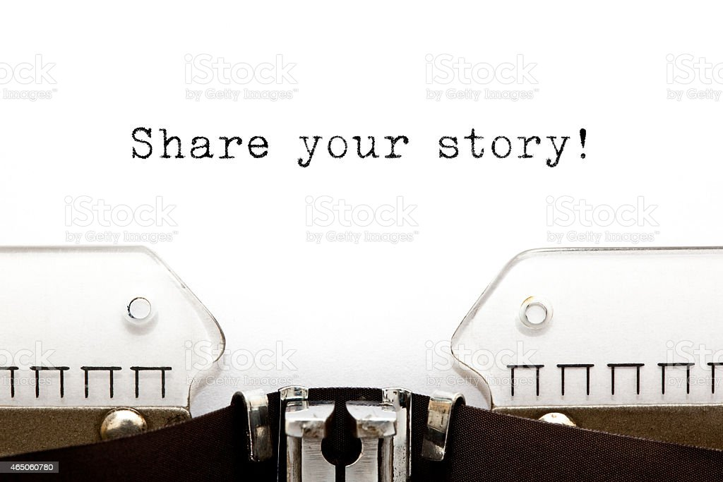 Share Your Story Typewriter stock photo