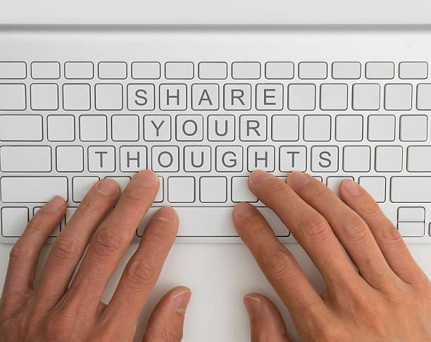 Share your thoughts concept stock photo