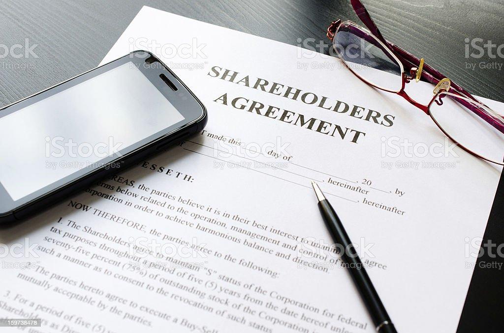 shareholders agreement stock photo