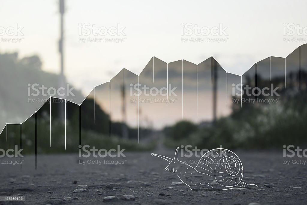 Shares and snail on the road. stock photo