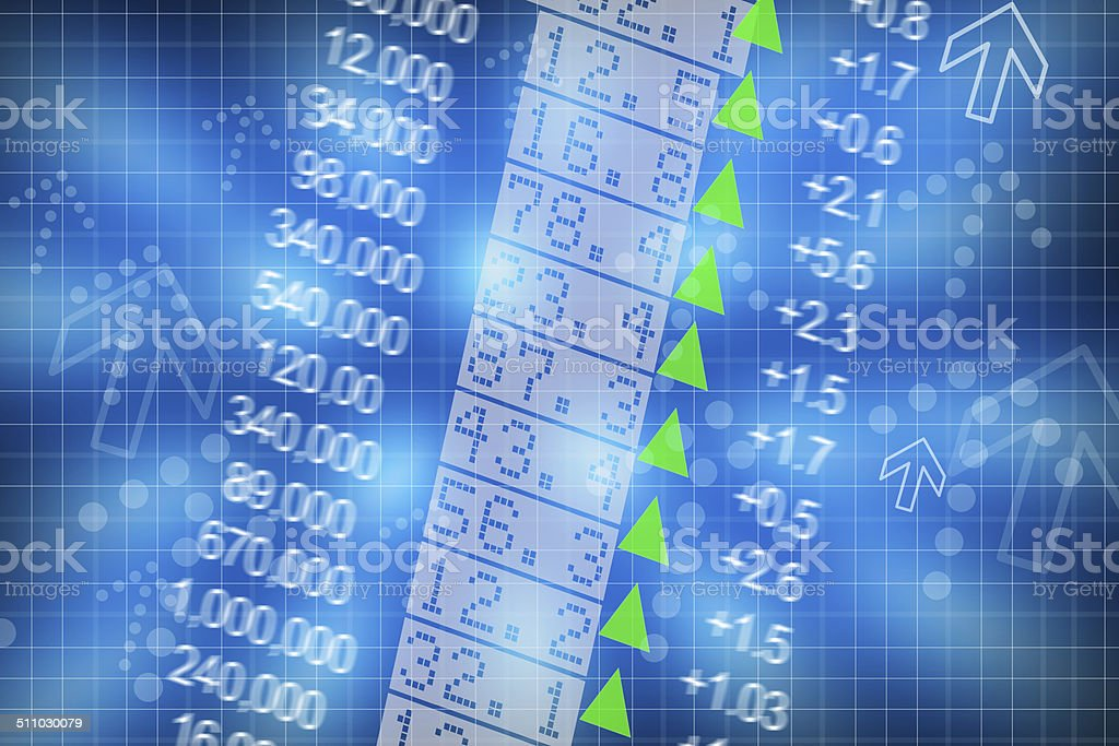 Shares price go up on computer display stock photo