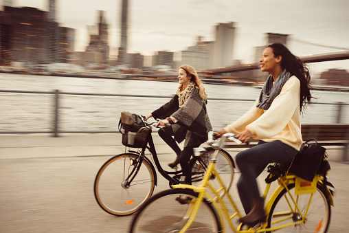 istock Sharing a Bicycle ride my friend in NYC 498310040