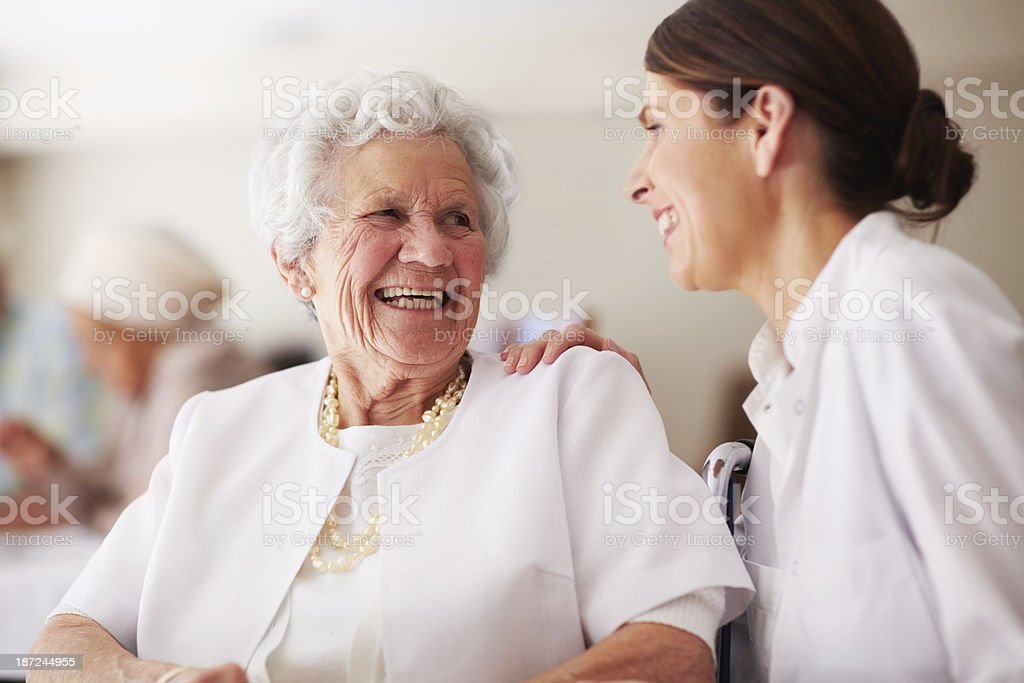 Sharing a joke stock photo