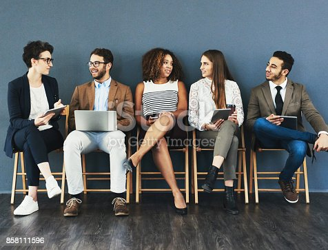 858111468 istock photo Sharing a laugh before the interview 858111596