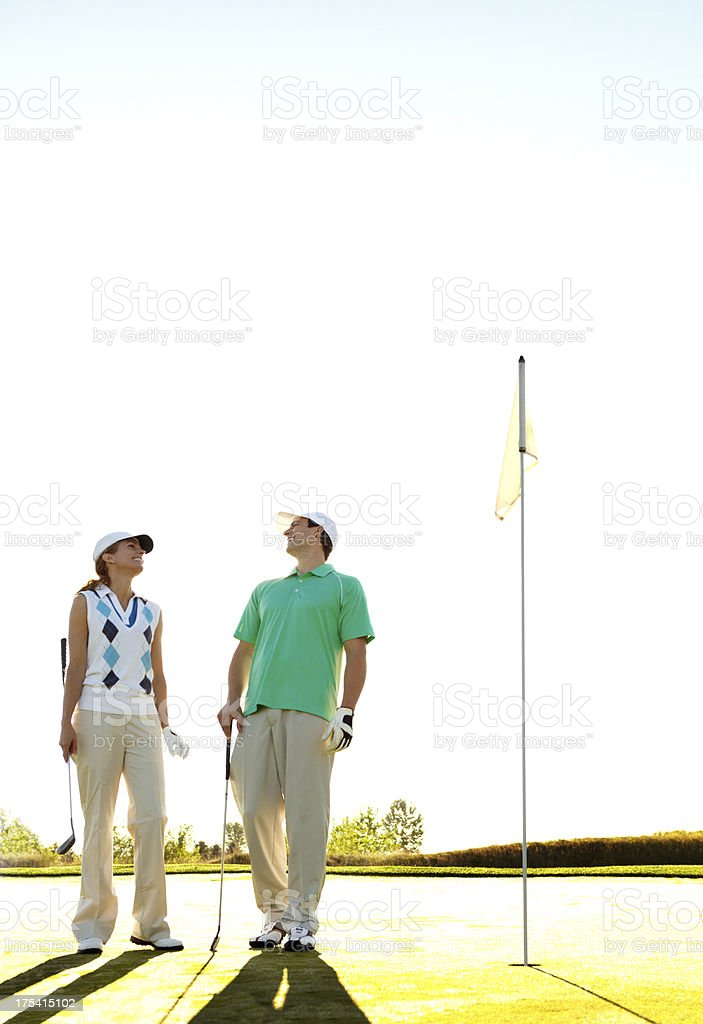 Sharing a passion for golf stock photo