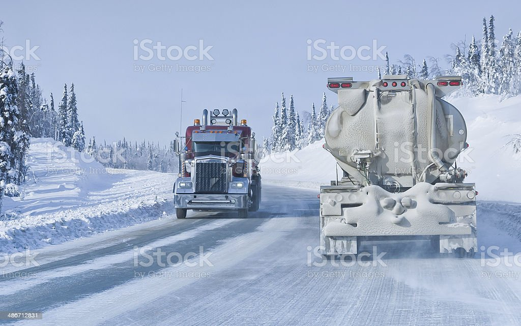Sharing an Icy Winter Road stock photo