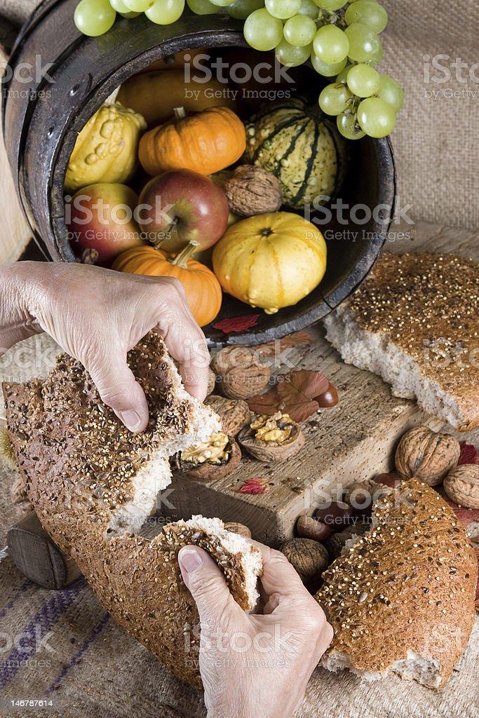 Sharing bread stock photo