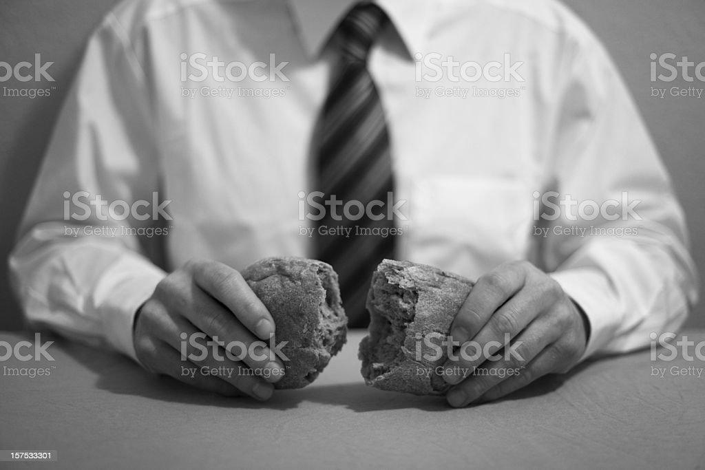 Sharing bread. stock photo