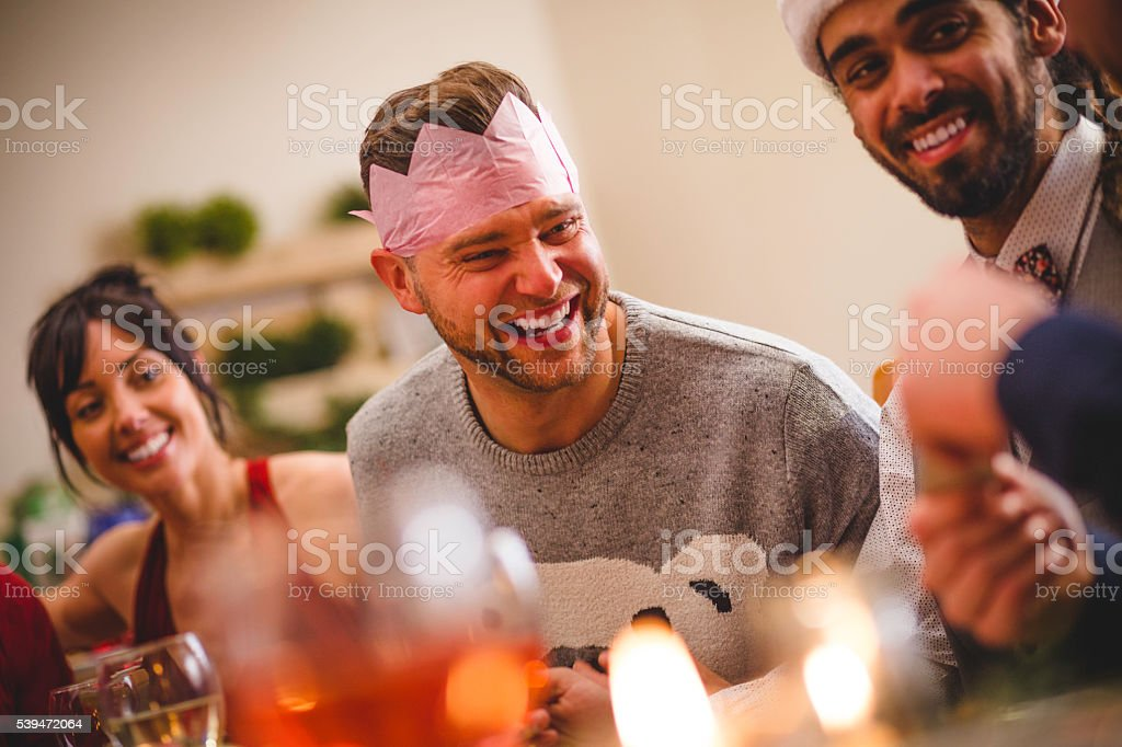 Sharing Christmas Jokes stock photo
