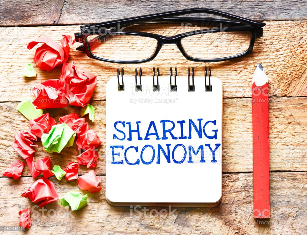 Sharing Economy or note business concept stock photo