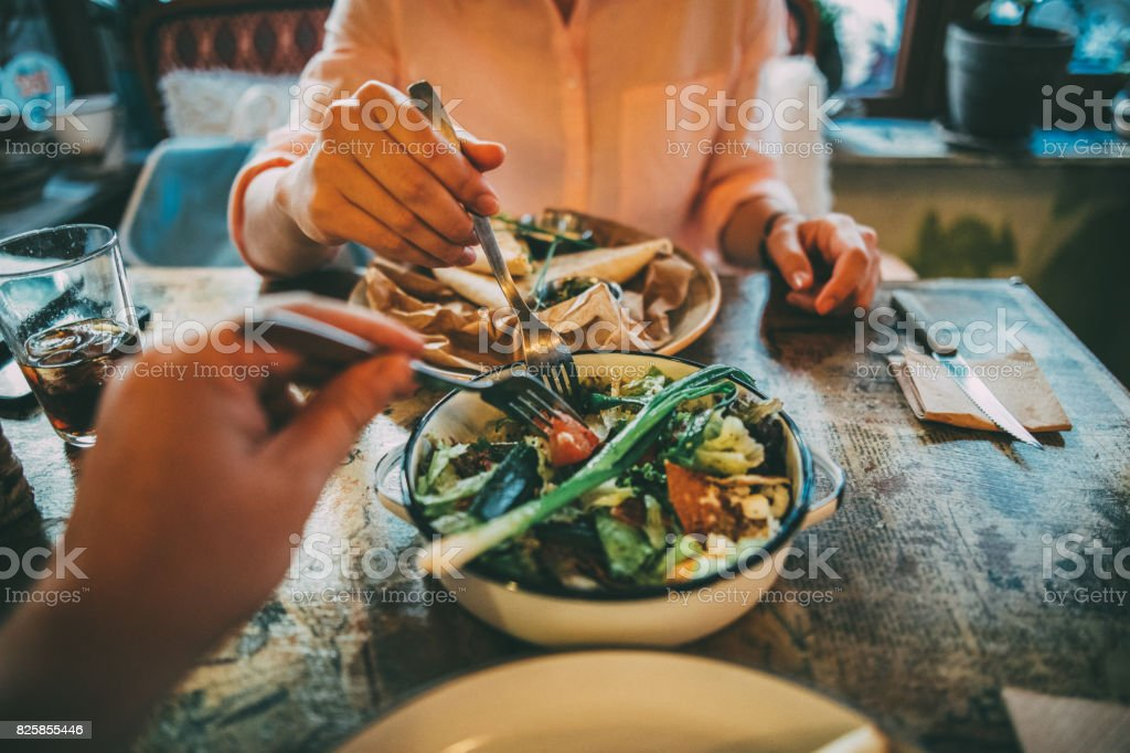 Sharing food stock photo