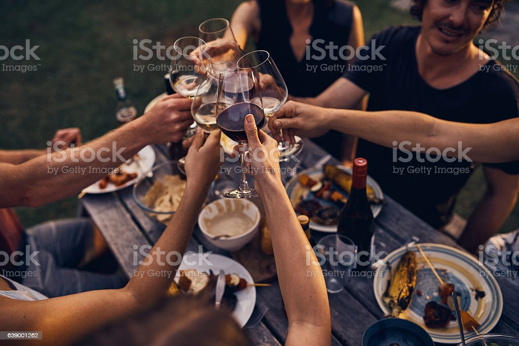 Sharing good food and wine with friends stock photo