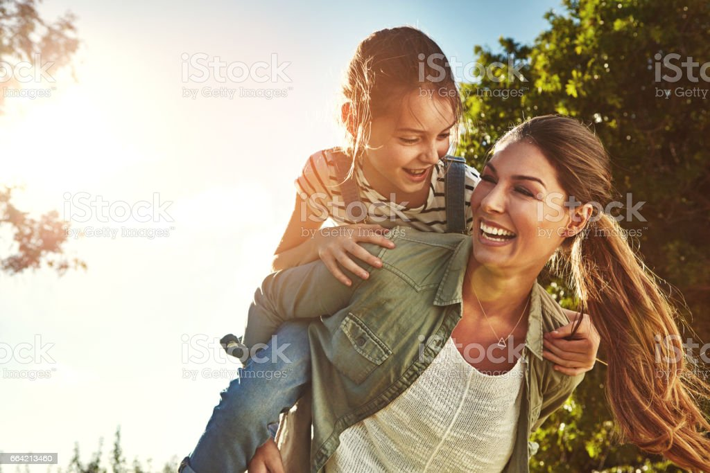 Sharing good times on a golden afternoon stock photo