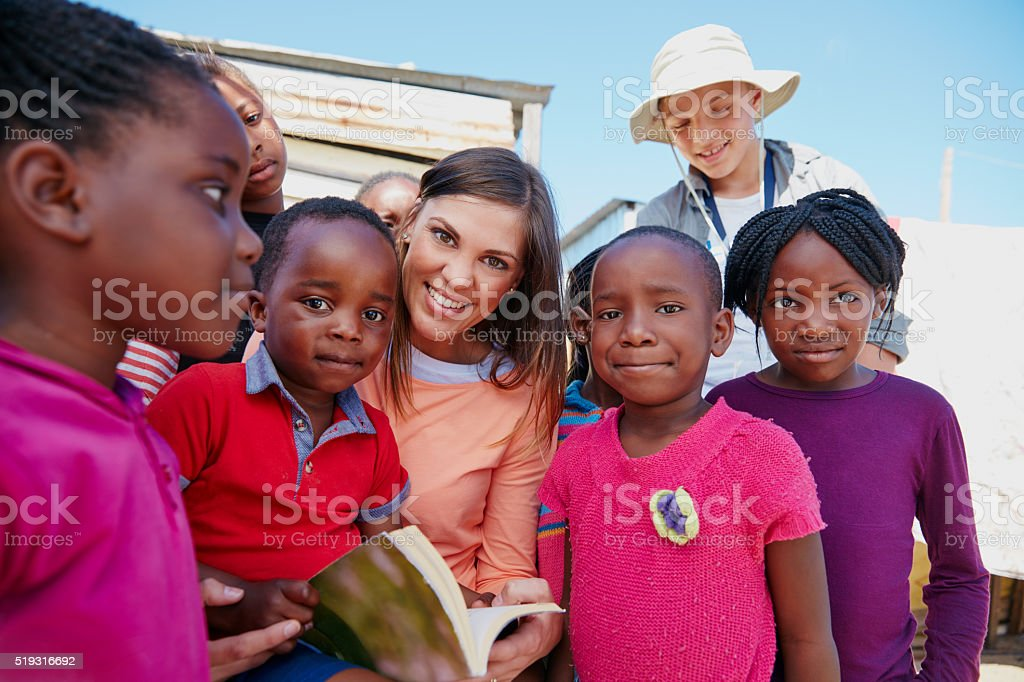 Sharing her love of literature stock photo