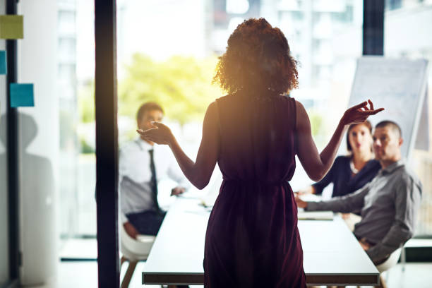 Sharing her vision for a new business venture stock photo