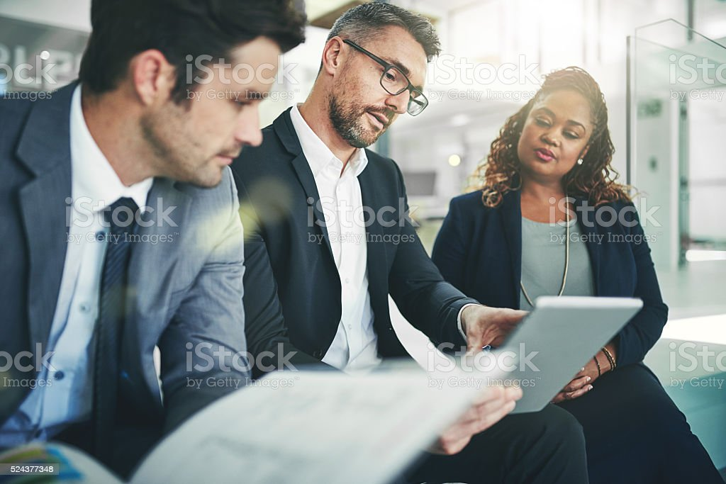 Sharing his business acumen stock photo