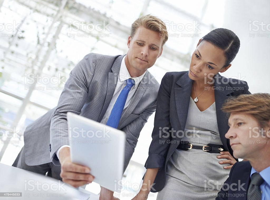 Sharing his research with the team royalty-free stock photo