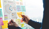 istock Sharing ideas concepts with papernote writing strategy on wall glass office.Business marketing 1074983828