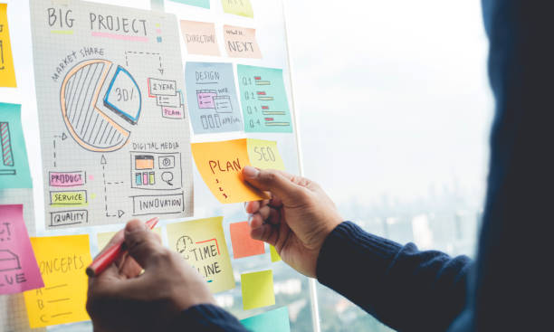 Sharing ideas concepts with papernote writing strategy on wall glass office.Business marketing Sharing ideas concepts with papernote writing strategy on wall glass office.Business marketing and communication plan document stock pictures, royalty-free photos & images