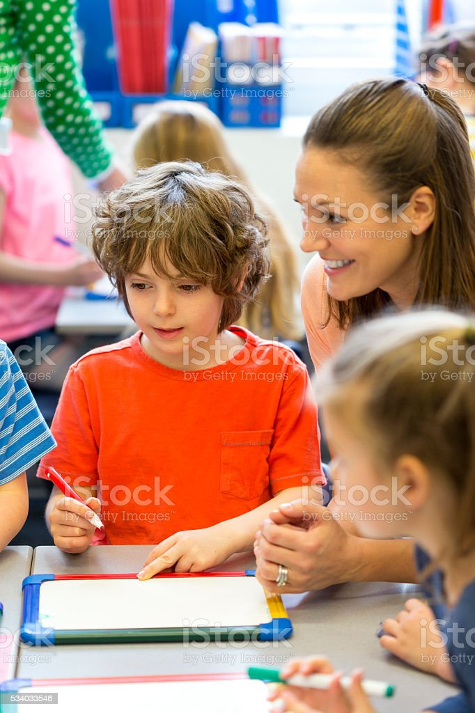 Sharing ideas in their art class stock photo