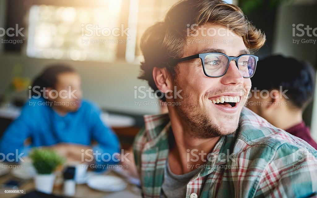 Sharing laughs over coffee stock photo