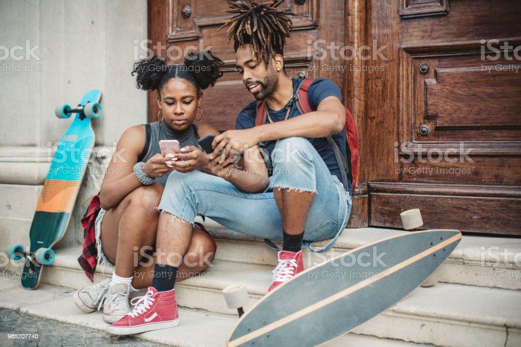 Sharing moment on social media royalty-free stock photo