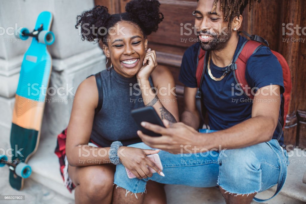 Sharing moment on social media royalty-free stock photo