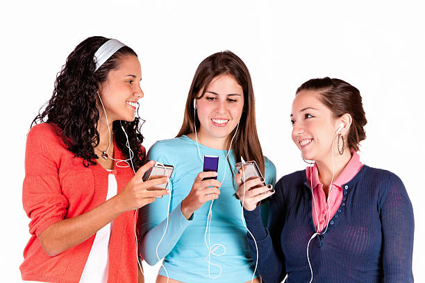 Sharing music on a mp3 device stock photo