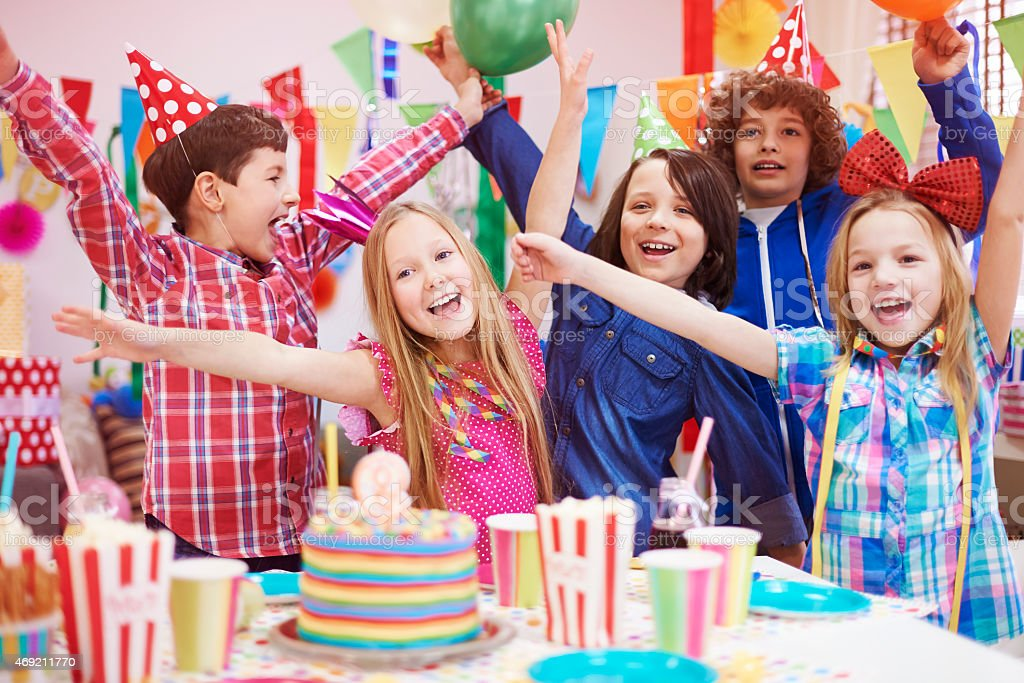 Sharing of happiness with friends on the party stock photo