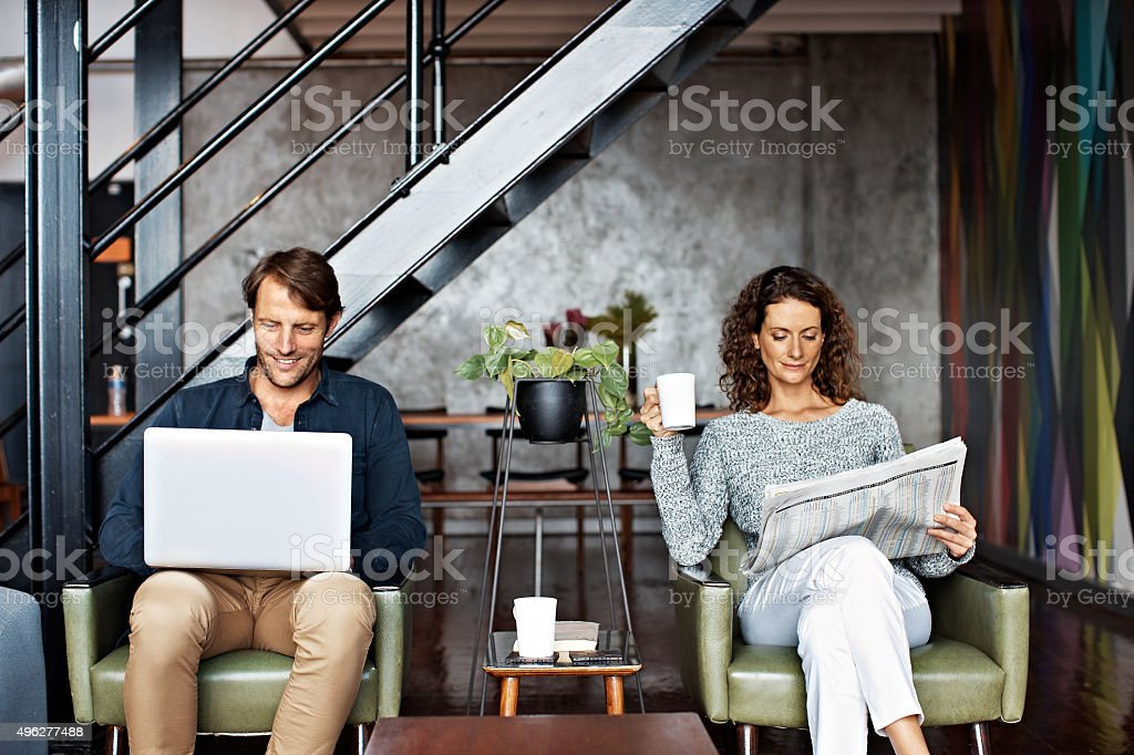Sharing separate interests stock photo