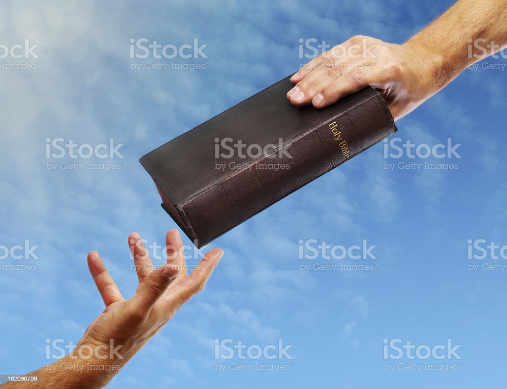 Sharing The Bible royalty-free stock photo