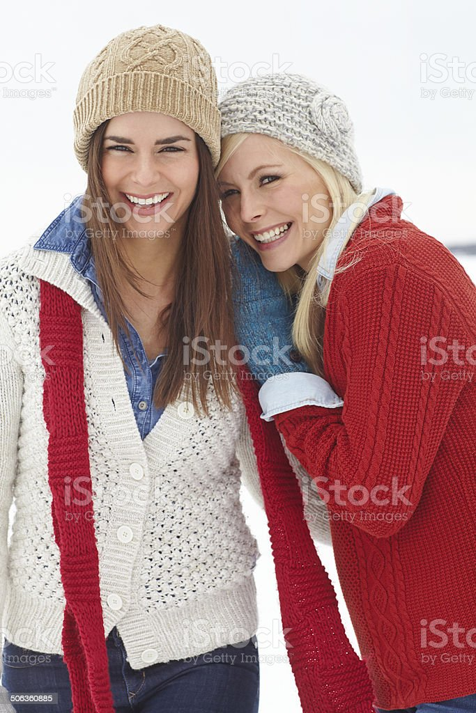 Sharing the cold together royalty-free stock photo