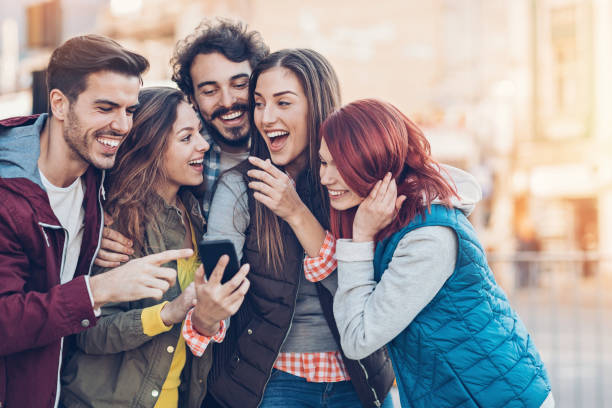 Sharing the fun with my friends stock photo