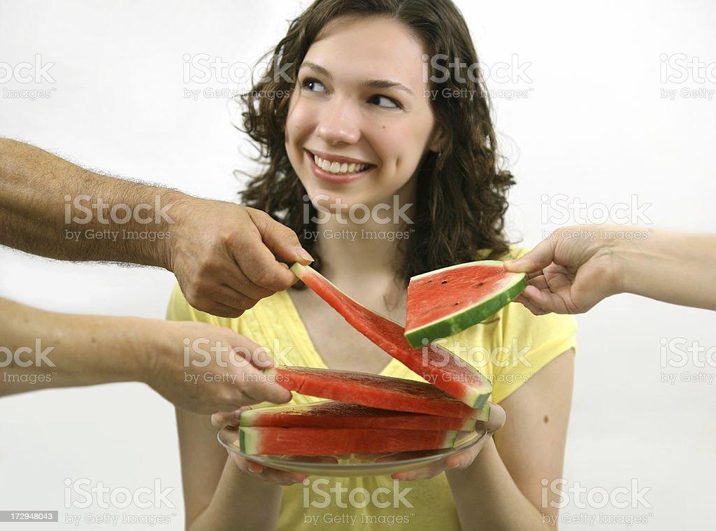 sharing watermelon royalty-free stock photo